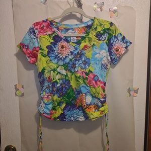 Caribbean Joe Floral Ruched Top